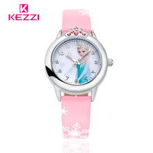 New Cartoon Children Watch Princess Elsa Anna Watches Fashion Girl Kids Student Cute Leather Sports Analog Wrist Watches k1128(China)