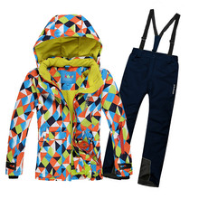 2016 New Children set(ski jackets+pants) baby girl's outdoor waterproof windproof warm sport suits kids snow ski sets clothing