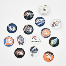 Newest Denver Broncos Snap Buttons 18MM Glass Football Team Snap Charms Fit Snap Bracelet Necklace (Mixed 50pcs or Single 10pcs)(China)