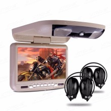 "XTRONS 1pc Beige Overhead Monitor 9""Digital Screen Flip Down Slim Car Roof DVD Player + IR & FM Transmitter+Headset 2 Headphones"