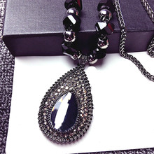 Shinning Water Drop Rhinestone Long Necklace Women Bijoux Fashion Simple Sweater Pendant Jewelry Accessories
