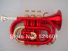 Wholesale The Inventory Bb Pocket Trumpet Looks Big Red, Golden Brown.Professional Trumpet Red Gold Lacquer(China)