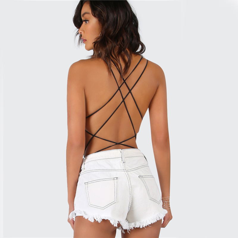 COLROVIE Strappy Backless Bodysuit Women Black Sleeveless Summer Beach Hot Bodysuits 2017 Scoop Neck Cross Slim Cami Bodysuit 9