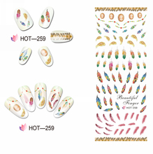 UPRETTEGO NAIL ART BEAUTY WATER DECAL SLIDER NAIL STICKER BIRD HAIR FEATHER FLOWER LOTUS CHINA ROSE HOT259-264(China)