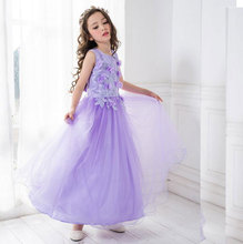 Long Style 2017 Summer Baby Tutu Dresses Kids Clothes Children Princess Lavender Flower Girls Dresses For Party And Wedding