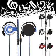 3.5mm Wired Headset Earphones Clip On Ear Sports EarHook For Mp3 Player Computer Mobile Phone 1.1m Cable 4 Colors