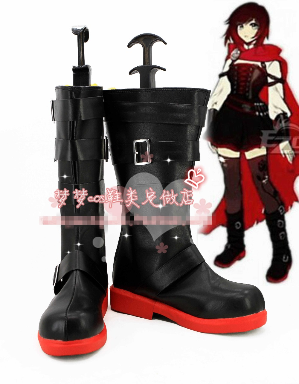 Free Shipping RWBY Ruby Rose Cosplay Shoes Halloween Black High Boots Custom-made