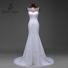 Free shipping transparent yarn with beautiful lace flowers mermaid wedding dresses vestidos de noiva robe de mariage ball gown(China)