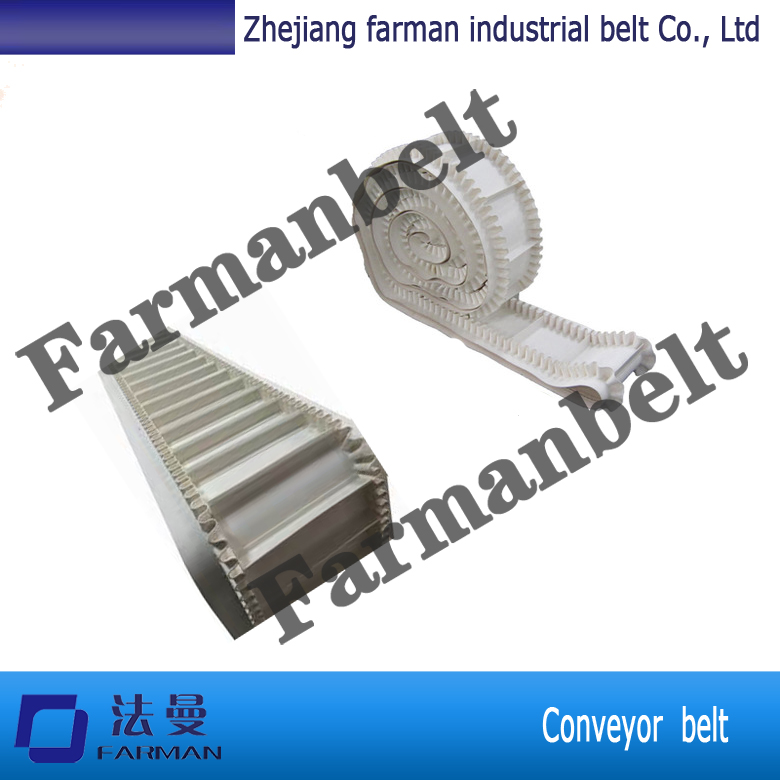 PU white skirt belt corrugated sidewall industrial conveyor belt and food grade pu belt conveyor<br>