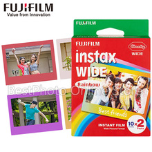 20 Sheets Fujifilm Fuji Instax Rainbow Wide Film white Edg For Fuji Instant Camera 300/200/210/100/500AF polaroid Photo paper