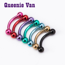 Multicolor eyebrow nail Body piercing rod ball colorful lip ear bone nail nose studs tongue nail piercing jewelry for women