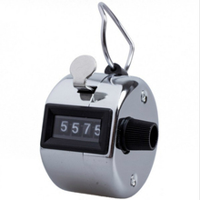 Promotion Stainless Metal Mini Sport Lap Golf Hand Held Manual 4 Digit Number Hand Tally Counter Clicker Silver(China)