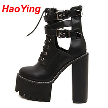 punk boots winter autumn shoes women black boots high heels motorcycle women ankle boots for women platform brown boots D278