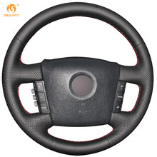MEWANT Black Genuine Leather Car Steering Wheel Cover for Kia Borrego 2008-2015(China)