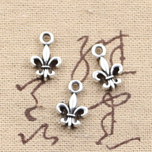 99Cents 12pcs Charms fleur de lis saints 14*9mm Antique Making pendant fit,Vintage Tibetan Silver,DIY bracelet necklace(China)