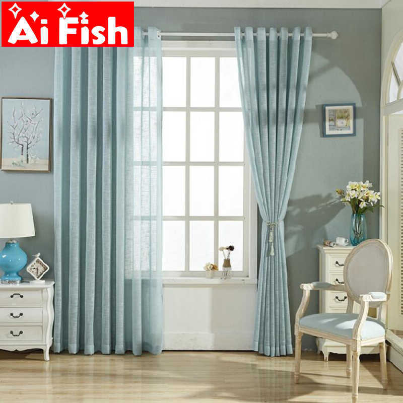 Modern Simple White / Blue the Cross Embroider Cotton Linen Curtain Tulle Fabric Curtains For Living Room Blinds AP342-20