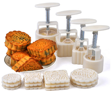 Moon Cake Mold 4 Hand Pressure Moulds + 12 Motifs Mooncake Molds Round & Square Cookie Cutters Cakes Tools