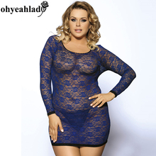 R80218P Ohyeahlady Sexy Costume Plus size Sexy lingerie Women Lace Long Sleeve Sex Big Size Fat Lingerie See Through Babydoll