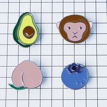 Timlee X042   Free shipping Cute Alloy Avocado Monkey Peach Blueberry Metal Oil Drop Brooch Pins,Fashion Jewelry Wholesale