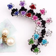 12 PC Crystal Flower Rose Hair Clip Mini Hair Accessories child girl hair ornaments cute rhinestone Hairpin baby Clamp Hair Clip(China)