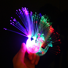 20Pcs Peacock LED Finger Light Colorful Flashing Finger Ring Fiber Projector Night Light Torch Toy Kids Adult Gift Party Navidad