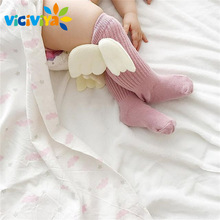 VICIVIYA Knee High Socks Cotton Baby Cute Angel Wings Socks Kids Toddler Candy Color Soft Sock Children Leg Warmers 0-4Y ~