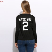Long Sleeve T Shirt Women Tops Tee Shirt Plus Size Women T-shirt Spring 2 Number Letters Print Casual Cotton T-shirts SVH032080(China)