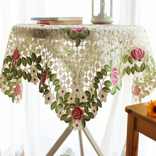 16 Styles 85*85cm Cutwork Handmade Embroidered Table Cloth Square Topper Luxury Polyester Jacquard Embroidery Floral Tablecloths(China)