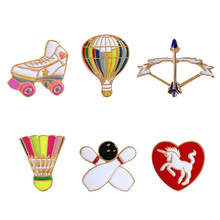 Cute Sports Style Hot air Balloon Bow And Arrow Badminton Enamel Pins For Women Denim Jacket Pin Badge Jewelry Spille Donna