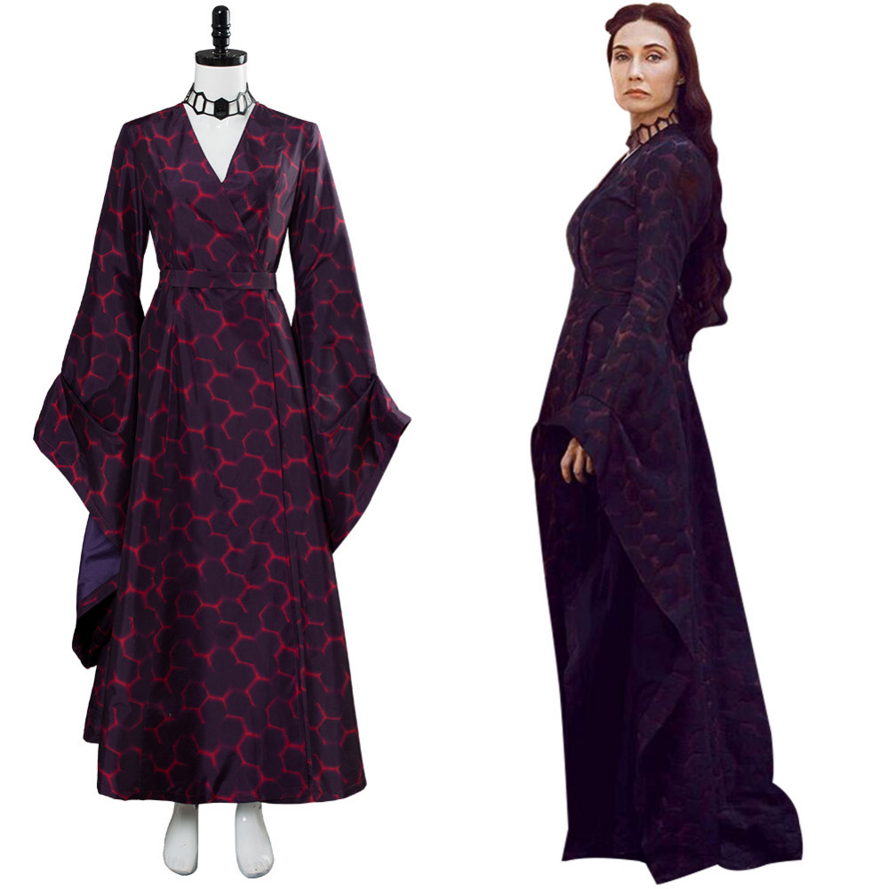 Game of Thrones Cosplay Melisandre Costume Cosplay Dress Dark Gown Halloween Carnival Costumes