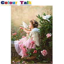 Acrylic Oil Painting by Numbers on Canvas Drawing for Kids Room DIY Art Flower Paint by Numbers Home Decor Angel Girl P-0392(China)