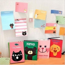 Free shipping Cute Cartoon Animal Cat Bear Memo Pad Post it Note Kawaii Sticky Note for kids School Supplies 2508(China)