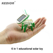 New 6 in 1 DIY Educational Solar Kit Toy Boat Fan Car Robot Power Moving Dog Mini Assembling Building Blocks Electric Toy