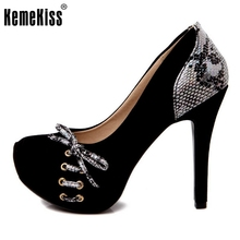 women  high heels shoes bowknot platform wedding sexy lady pumps brand heeled footwear heel shoes size 33-40 P19245