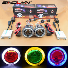 Sinolyn HID Bi-xenon Projector Lens Full Kit for Motorcycle Headlight Retrofit W/ Angel Halo Devil Demon Eyes 4300K 6000K 8000K