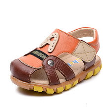 2016 Summer Kids Boy Genuine Leather Sandals Toddlers Fashion Soft Rubber Bottom Sandals Children Boys High Quality Shoes