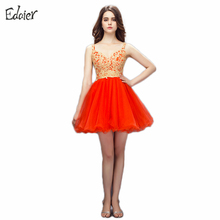 New Arrival Cocktail Dresses 2018 A Line V Neck Sleeveless Backless Mini Beaded Lace Orange Short Dress Formal Cocktail Dresses(China)