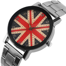 KEVIN England The Union Jack Quartz Watch Fashion Bling Crystal Face Wristwatches Woman's Girl's Watches Stainless Steel Clocks(China)