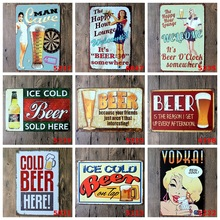 Drink Beer Bottles Vintga Tin Signs Club Bar Coffee House Wall Poster Wall Decoracion Vintage Hogar Metal Signs