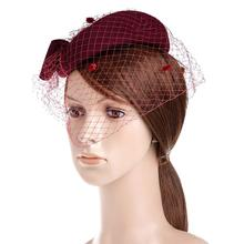 VBIGER Womens Hat Dress Fascinator Wool Felt Pillbox Hat Party Wedding Bow Veil(China)