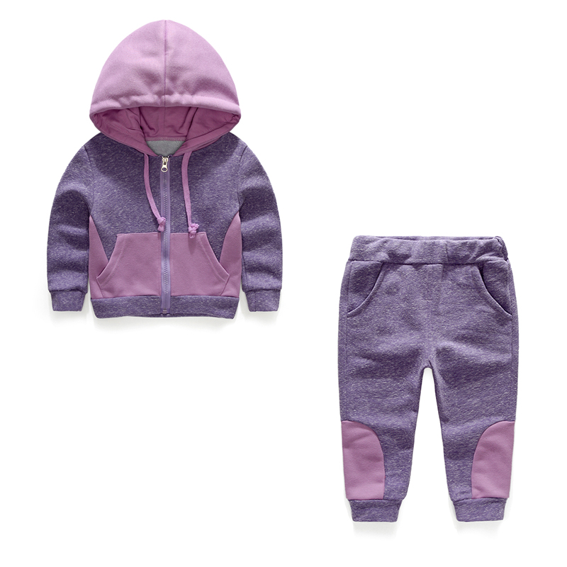 2017 new spring girls long sleeved hooded Long sleeve coat+pants sports suits solid childrens clothing two piece sets for kids<br>
