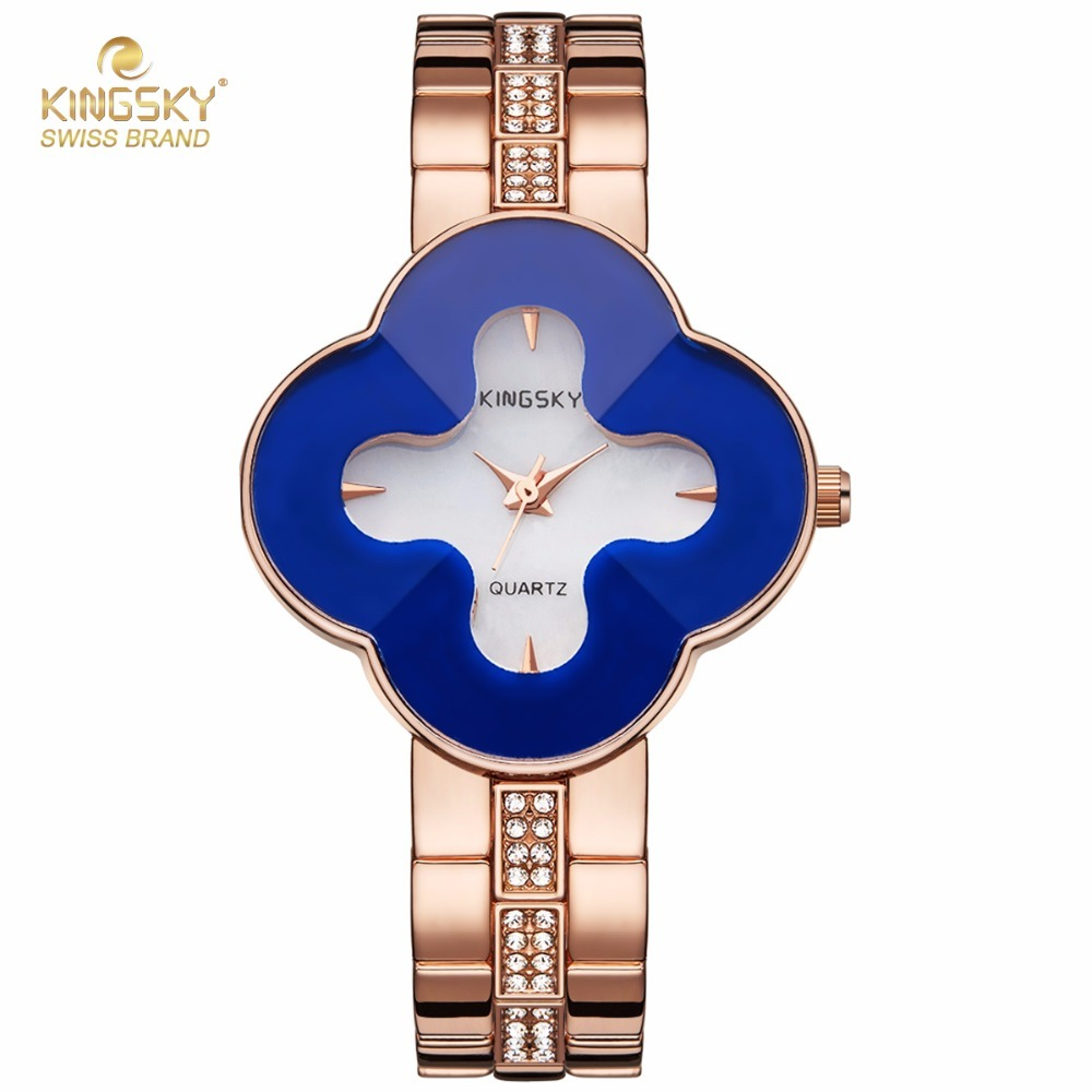 Unique Design Women Watch Brand KINGSKY Four Leaf Clover Shape Case Rhinestone Alloy Strap Quartz Watch 1811# 2017 New<br>