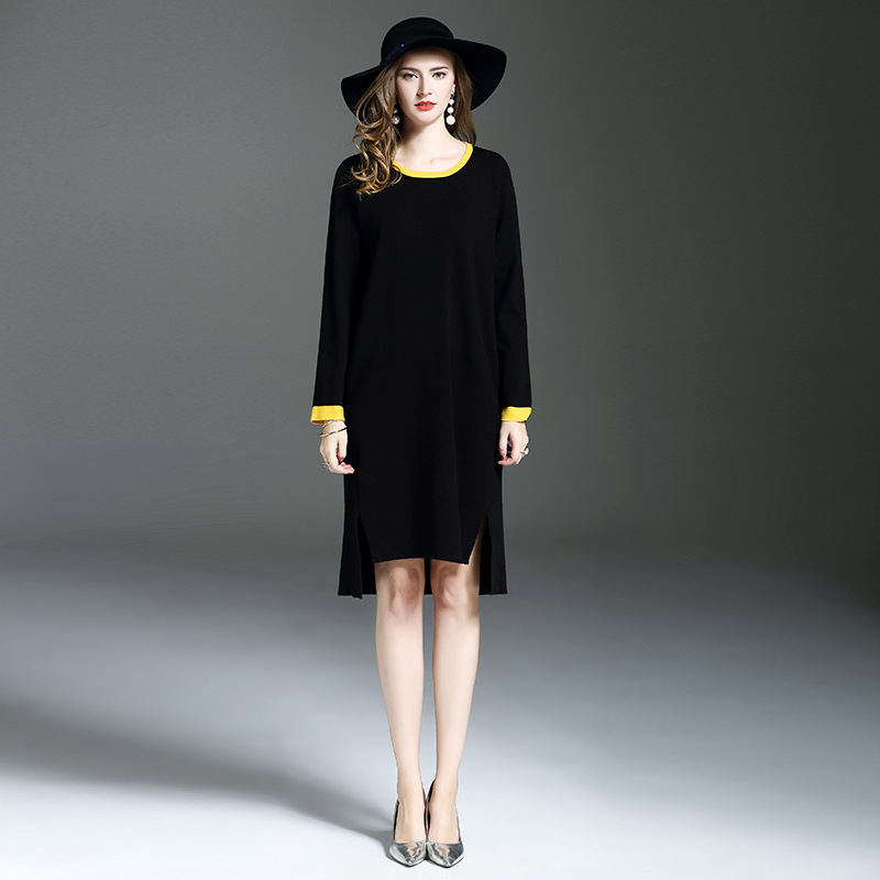 2017 New Autumn Casual Knitted Dress Women Large Sizes Black Sweaters Pullovers Irregular Length Loose Waist Vestido De FestaÎäåæäà è àêñåññóàðû<br><br>