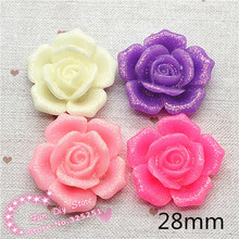 resin glitter flower flat back cabochon cameos for ornament 28mm 50pcs/lot(China)