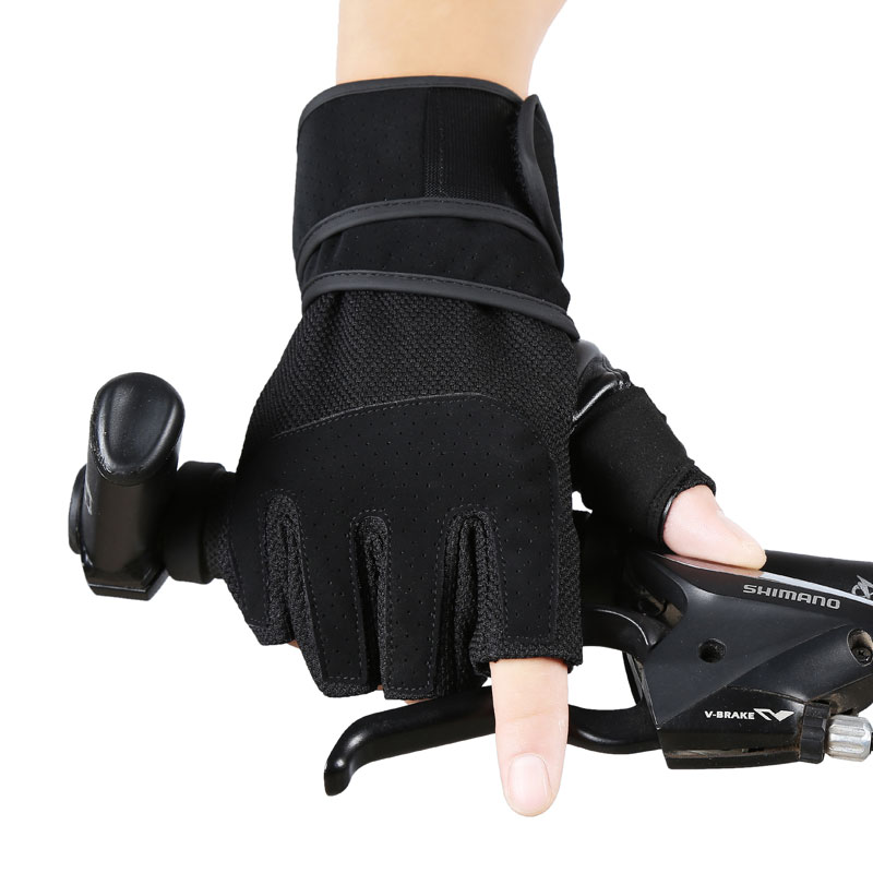 Summer air men half finger Wrist Gloves dumbbell bar movement fitness training armguard palm pull-up device<br>