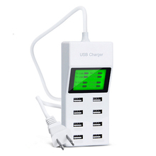 Universal 8 USB Ports Led Display US EU UK Plug Travel AC Power Strip Adapter Socket Smart Charger For Cell Phone Tablet Camera(China)