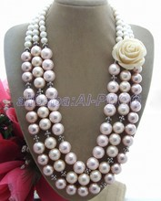 GG Pink & White Shell Pearl Yellow Flower Necklace free shipment(China)