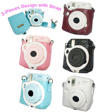 5 Color Pink Blue Black White Leather Camera Strap Bag Case Cover Pouch For Fuji Fujifilm Instax Mini 8 Instant Photo Camera(Hong Kong)