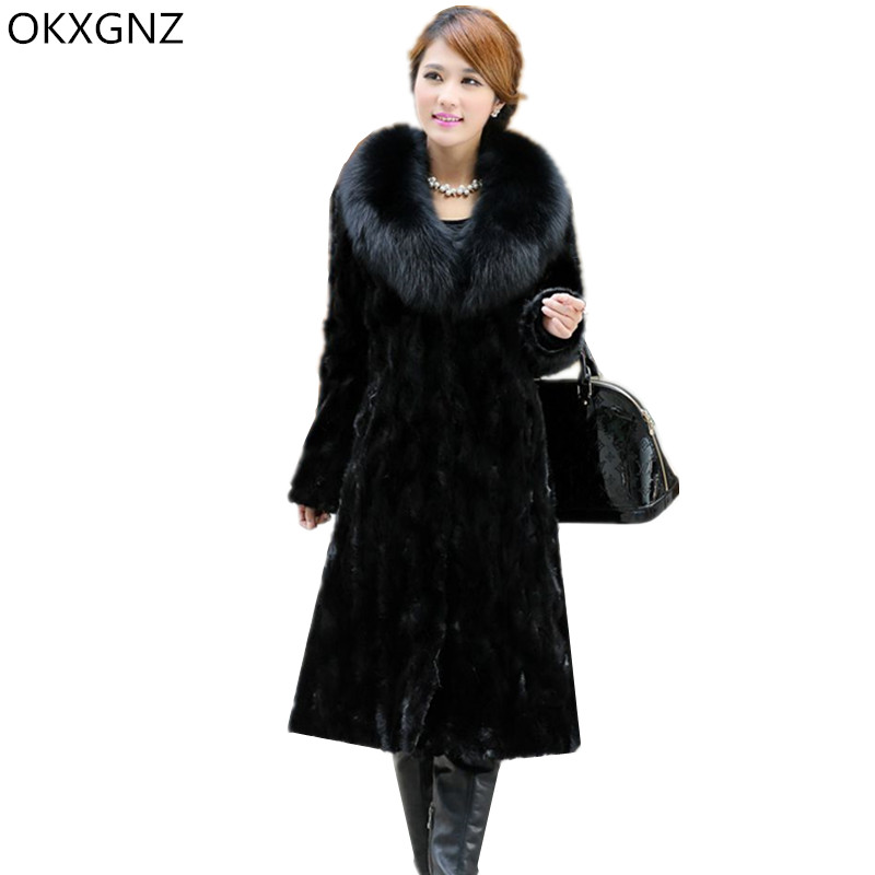 OKXGNZ Imitation Fur Coat Women Black Fox Fur Mink Fur 2018 New Winter long Coat Tops Fur Collar Warm Plus Size 6XL Costume A057