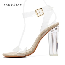 Newest Women Pumps Celebrity Wearing Simple Style PVC Clear Transparent Strappy Buckle Sandals High Heels Shoes Woman 4 models
